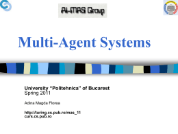Course 1. Introducere in Multi-Agent Systems - AI-MAS