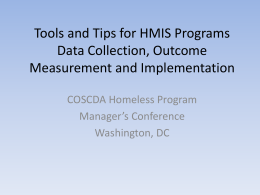 Tips and Tools for Homeless Programs Data Collection
