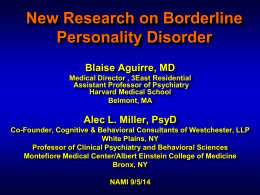 Research Update - Borderline Personality Disorder