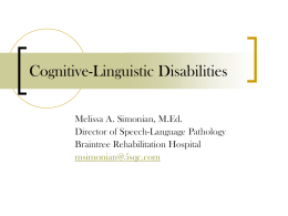 Cognitive-Linguistic Disabilities - courses