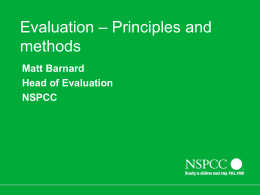 Evaluation – Principles and methods