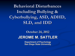 bullying and special needs children - Jerome M. Sattler, Publisher, Inc.