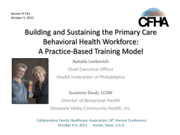 A Practice-Based Training Model - Collaborative Family Healthcare