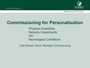 Commissioning for Personalisation - Colin Rowett