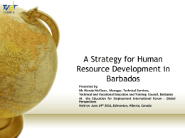 A Strategy for Human Resource Development in Barbados