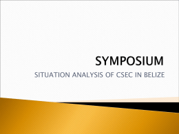 Situational Analysis of CSEC in Belize