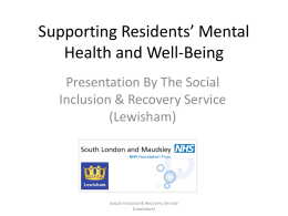 Supporting Residents` Mental Health and Well