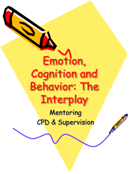 Emotion, Cognition and Behavior: The Interplay 1