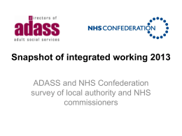Snapshot of integrated working 2013