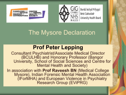 Prof Peter Lepping - The Centre for Mental Health and Society