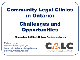 Challenges and Opportunities - Community Advocacy & Legal Centre