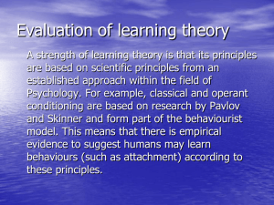Evaluation of learning theory