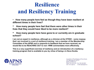 Resilience and Resiliency Training