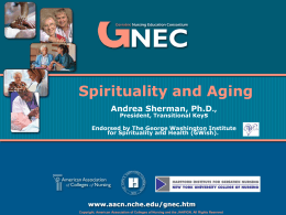 GNEC - Spirituality and Aging - Hartford Institute for Geriatric Nursing