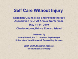 Self Care Without Self-Injury - Canadian Counselling and