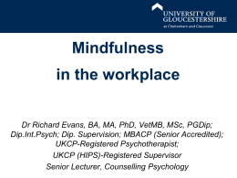 Mindfulness - Insight – University of Gloucestershire