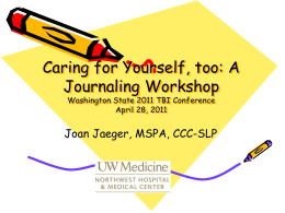 A Journaling Workshop - Washington Traumatic Brain Injury Council