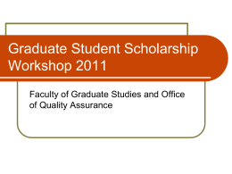 Psychology Graduate Student Scholarship Workshop