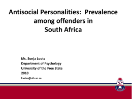 Antisocial Personalities - Institute for Security Studies