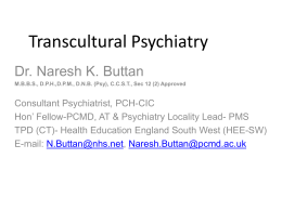 Transcultural Psychiatry N Buttan 27th September 2013