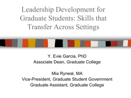 Leadership Development for Graduate Students: Skills that Transfer
