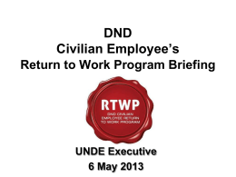 DND Civilian Employee`s Return to Work Program Awareness Course