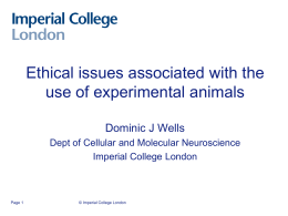 Ethical issues associated with the use of experimental animals