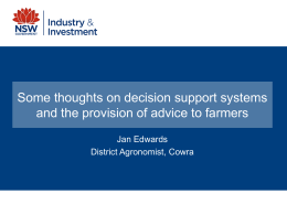 Jan Edwards – some thoughts on decision support systems and the