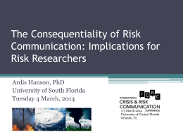 The Consequentiality of Risk Communication