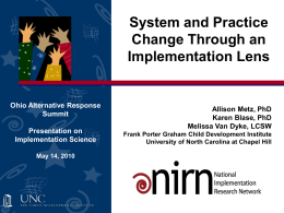 Systems and Practice Change Through Implementation Lens
