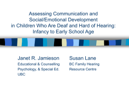 Assessing Communication and Social/Emotional Development in