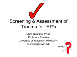 Screening & Assessment of Trauma for IEP`s
