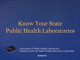 Know Your State Public Health Laboratory