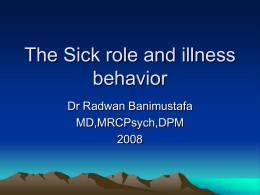 The Sick role and illness behavior