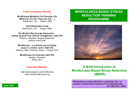 Mindfulness-Based Stress Reduction (MBSR)
