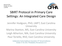 SBIRT Protocol in Primary Care Settings