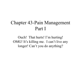 Pain Management Part 1