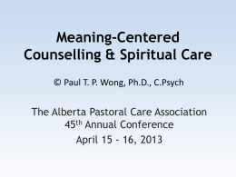 Meaning-Centered Counselling and Therapy