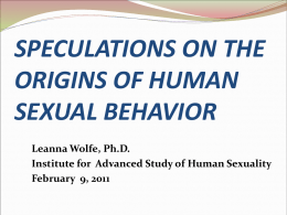 Speculations on the Origins of Human Sexuality