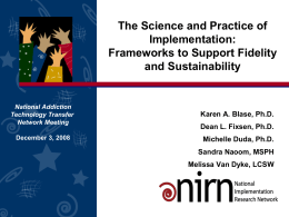 The Science and Practice of Implementation
