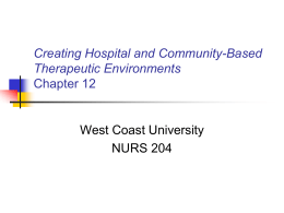 Creating Hospital and Community-Based Therapeutic Environments