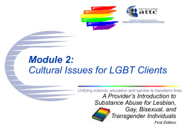 SESSION # 2: CULTURAL ISSUES FOR LESBIAN, GAY, BISEXUAL