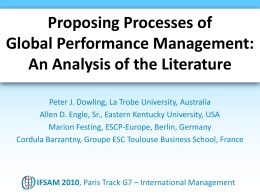 Proposing Processes of Global Performance