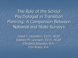 The Role of the School Psychologist in Transition Planning: A