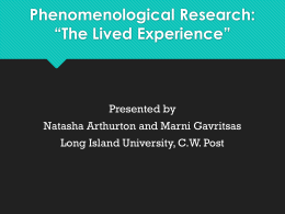 "Phenomenology Research: ""The Lived"