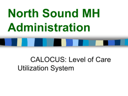 CALOCUS - North Sound Mental Health Administration