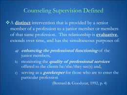 2011 Supervision Workshop