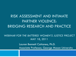 Risk assessment and intimate partner violence: bridging