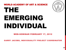 The Emerging Individual - World Academy of Art and Science