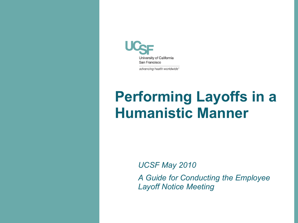 Training for Layoffs - UCSF Human Resources